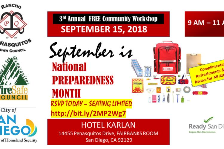 Free Disaster Preparedness Workshop September 15, 2018